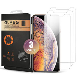 packing boxes tempered glass UK - For iPhone 11 PRO MAX XR XS MAX Screen Protector 3 Pack Tempered Glass Protector Film for iPhone 7 8 PLUS XS 11 PRO With Retail Box