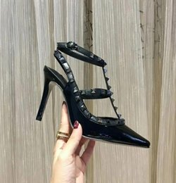 8f8b5487eabc 19 brand designer five-color optional ladies high-heeled shoes fashion  rivets sandals sexy pointed shoes dance sandals wedding shoes