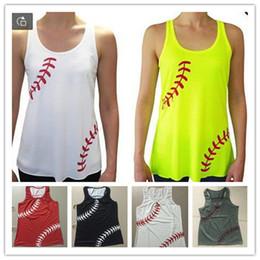 Las mujeres Beisbol chaleco tapas del tanque vallas verano de la correa aptitud del chaleco sin mangas del chaleco de gimnasio Sweat Shirts T de la camiseta más el tamaño A22705 en venta