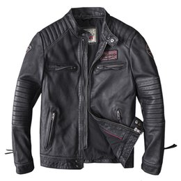 real motorcycle jackets Australia - Drop Shipping Men Black Skull Embroidery Genuine Leather Coats Motorcycle Jacket Real Head layer cowhide 4XL new clothing