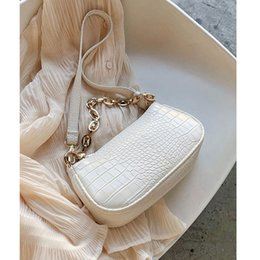 light beige hand bag NZ - Fashion Crocodile Pattern Baguette bags MINI PU Leather Shoulder Bags For Women 2020 Chain Design Luxury Hand Bag Female Travel CX200529
