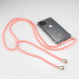 lanyard clear case UK - Necklace Holder Mobile Phone Cover with Cord Strap Transparent Silicon Cover Stylish Cross Body Lanyard Cord Case for Iphone 11 pro max