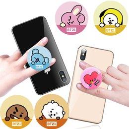 K-POP BTS BT21 Bangtan Boys Подставка для мобильного телефона Подставка для телефона Расширяющаяся подставка Крепление для крепления Кронштейн Кольца для пальцев COOKY SHOOKY RJ TATA