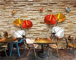 Live Wallpaper Hd NZ - Decor Mural Wallpaper HD Creative Calla Lily 3D Living Room Bedroom Background Wall Decoration Mural Wallpaper