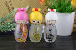 cute puppets UK - 20 ML Cute Japanese Puppets Portable Glass Refillable Perfume Bottle With Spray Empty Parfum Case For Traveler