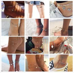 vintage plastic figures 2019 - Vintage Multiple Layers Anklets For Women Retro Elephant Sun Pendant Foot Jewelry Barefoot Sandals Ankle Bracelet on the