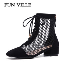black sheep shoes 2019 - FUN VILLE 2018 New Fashion Summer women Ankle Boots sheep suede or Patent leather High Boots Black white Sexy Femal shoe