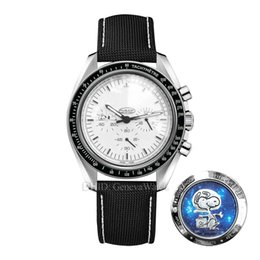 Wholesale Snoopy Watch Sport Mens Designer Watches Apollo Limited Chronograh Quartz Wristwatches White Dial Snoopy Back Case luxury watch