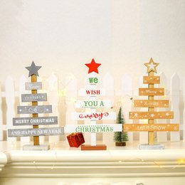 $enCountryForm.capitalKeyWord Australia - Mini Wooden Merry Christmas Tree Desk Table Decor Creative Letter Christmas Tree Ornaments Painted Table Cards Pendants