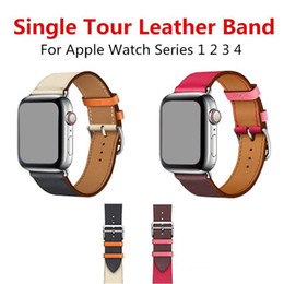 Wrist Watch Designs Australia - New Single Tour Leather Band for Apple Watch Series 4 3 2 1 Swift Leather Strap for iWatch Wrist Classic Design With Connector Adapter