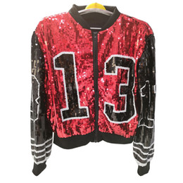 sequin sleeve jacket NZ - 2019 Baseball Fashion Design Women Custom Bomber Sequin Jacket Wholesale Y190919