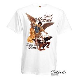 edd754d122d2 Michael Jacket Australia - Saint Michael Defend us in Battle Catholic  Christian White T Shirt Archangel