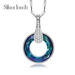 blue purple crystal necklace NZ - S925 necklace Swarovski Elements Crystal Lucky wheel Pendant Clavicle Chain for women wedding party' gift(Blue purple ABcolo)wholse