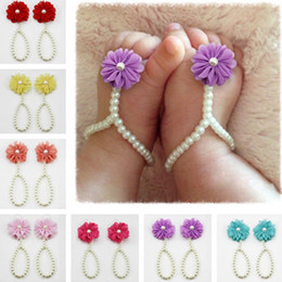 BaBy toddler Barefoot sandals online shopping - Infant Pearl Sandals Baby Rhinestone Beach Pearl Flower Barefoot Sandal Toddler Jewelry Shoes Cute Girl Accessories TTA848