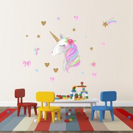 small heart wall stickers 2019 - Hot Selling Baby Kids Bedroom Wallpaper Colorful Unicorn Heart Rainbow Flowers Sequins Wall Sticker Princess Party Displ