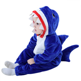 $enCountryForm.capitalKeyWord Australia - Cute Baby 2019 Hot Baby Blue Shark Costume Cosplay Kigurumi Cartoon Animal Rompers Infant Toddler Jumpsuit Flannel Halloween Fancy Dress