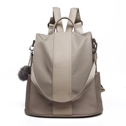 $enCountryForm.capitalKeyWord Australia - good quality Casual Solid Color Backpack For Female Oxford With Hairball Rucksack Women Preppy Style Backpack Lady