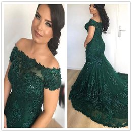 Short Ivory Lace Corset Dress Australia - Sparkly African Dark Green Mermaid Evening Dresses 2019 Off-Shoulder Lace Sequins Corset Back Long Prom Celebrity Gowns