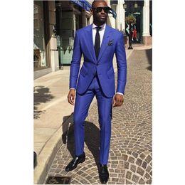 $enCountryForm.capitalKeyWord Australia - Royal Blue Groom Tuxedos Peak Lapel Men Wedding Tuxedo Fashion Men Jacket Blazer Men Dinner Darty Suit Custom Made(Jacket+Pants+Tie)