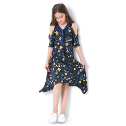 $enCountryForm.capitalKeyWord UK - Kids Dress for Girl Summer Dresses Casual Sleeveless Print Flower Princess Party Beach Dress for Teenage Clothing 6-14 Year