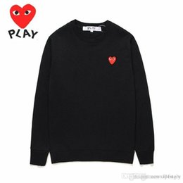 Wholesale emoji sweaters for sale - Group buy 2018 New New Quality HOLIDAY Heart Emoji C050B Black Red Heart Unisex CDG Play Embroidery Red Heart Sweater Round Collar Casual Hoodies Coat