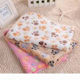cat blankets Australia - Pet Fashion Blankets Dogs Cats Footprints Pets Hamster Cat Dog Knitted Soft Coral Winter Blanket Fleece Pet Kennel Cat Dog Supplies WY66Q