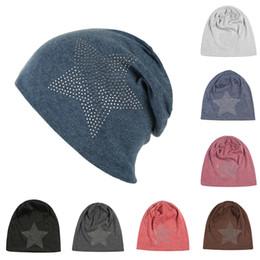 Wholesale Stocking Hats Australia - Fashion autumn and winter beanie hat 9 colors diamond turban Pentacle cap skull hip-hop stocking beanies hat for women men bonnet DHL SS3