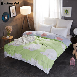 home cloud lighting 2019 - Home Textile White Clouds on Green Duvet Cover 1pc Cotton Quilt Cover for Adults Kids 150x200cm 180x220cm 200x230cm 220x
