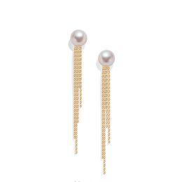 $enCountryForm.capitalKeyWord UK - Sinya Classical 18k Gold Tassel Earring Natural Real Round Pearls Stud Earring In Au750 Gold For Women Girls Mum Best Gift 2018 Y19052301