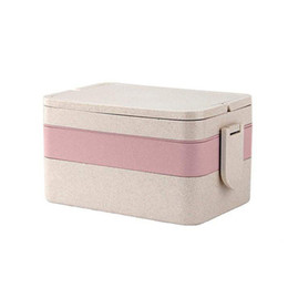 Green Box Containers Australia - 3 Layers Leakproof Picnic Lunch Box Home Wheat Straw Travel Double Lock Dinnerware With Tableware Non-toxic Container