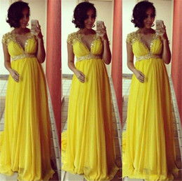 Nude Long Dresses For Prom Australia - Vintage Yellow Chiffon Long Evening Dresses For Pregnant Women A-Line V Neck Sexy See Though Formal Prom Gowns With Applique Beaded Lebanon
