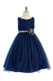 $enCountryForm.capitalKeyWord NZ - Hot Sale Princess Navy Blue Designer Kids Dresses A Line Tulle Jewel Neck Flowers Bodice Formal Wear Kids Pageant Dresses Girls Party Gowns