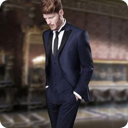 ClassiC suit designs for men online shopping - Italian Navy Blue Mens Suits for Wedding Coat Pants Peak Design Groom Tuxedo Groomsmen Outfit Man Blazers Costumes Pour Hommes Piece