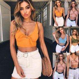 $enCountryForm.capitalKeyWord NZ - Summer Women clothing Sexy Rib knit Crop top T shirt Tank V-neck Bowknot Chest wrap Wholesale High quality S M L XL Free DHL