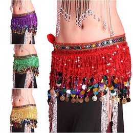coin belly dance NZ - TOP Multi Color Chiffon Belly Dance Hip Scarf Coin Sequin Belt Skirt Tassel Hip Wrap Super Girl