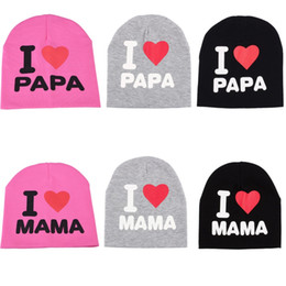 $enCountryForm.capitalKeyWord Australia - Spring Autumn Knitted Warm Beanie Cotton Baby Hats For Girls Toddler Kids Boy I LOVE PAPA MAMA Print Newborn Baby Cap Children