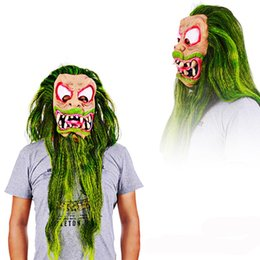 $enCountryForm.capitalKeyWord Australia - Horror Big Mouth with Green Hair Latex Mask Scary Halloween Costume Full Head High Quality Party Trick Special Cosplay