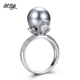 $enCountryForm.capitalKeyWord UK - Deczign Brand New Elegant Wedding Ring for Women Grey Pearl Micro Cubic Zircon Paved Jewelry Party Must Have WA11530