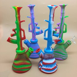 $enCountryForm.capitalKeyWord NZ - Wholesale 10.6 inches Silicone Machine Gun AK47 Water Pipe unbreakable silicone water bong with14mm bowl hisha hookah tobacco smoking pipe