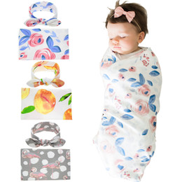 Wholesale Baby cotton Swaddle pc set rabbit ears bow headband swaddle cloth floral yellow peach flamingo printing receiving blankets photo B30