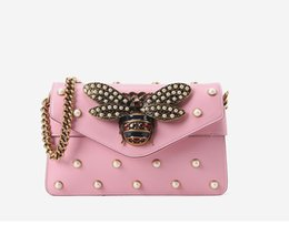 decoration pearls bag Canada - Lucky2019 Decoration Pearl Trend Single Shoulder Package Bees Genuine Leather Diagonal Chain Hand Bag High Archives