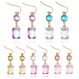 gold pendant designs for girls Australia - New Colorful K9 Crystal Pendant Dangle Earring for Women Girl Unique Design Square Geometric 18K Gold Hook Earring Fashion Jewelry Gift