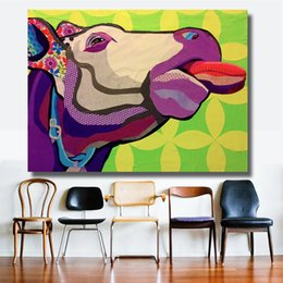 $enCountryForm.capitalKeyWord Australia - 1 Pcs Wall Printed Cow Head Animal Oil Painting Canvas Prints Wall Art Pictures For Bedroom Industrial Loft Living Room No Frame