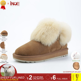 $enCountryForm.capitalKeyWord NZ - 2019 INOE fashion real sheepskin leather suede fur lined women rabbit fur winter short ankle snow boots for girls zipper winter shoes