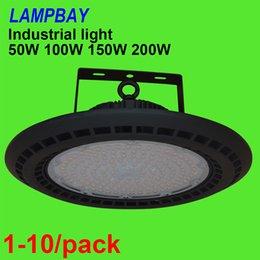 Venta al por mayor de 1-10 / pack LED Bahía Alta Luz 50W 100W 150W 200W UFO Lámpara en forma Taller Garaje Almacén Estadio Mercado Iluminación industrial