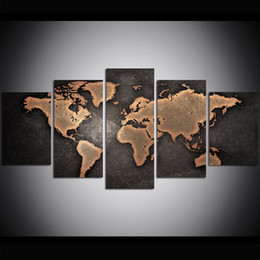 world map prints canvas 2019 - 5 Piece Large Size Canvas Wall Art Old World Map Oil Painting Wall Art Pictures for Living Room Paintings Wall Decor che