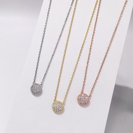 Trade charms online shopping - 2018 Foreign trade hot fashion jewelry Beautiful sparkling copper micro set round pendant necklace curved beaded full diamond necklace