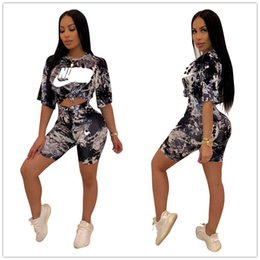 Nk Clothing Australia - Womens NK Letters Shorts Sets Tie-Dyed Crop Top T-shirt + Shorts 2 Piece Set Brand Outfits Summer Designer Tracksuits Women Clothing C61103