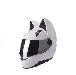 White Black Motorcycle Helmet Australia - NITRINOS motorcycle helmet full face with cat ears black white pink yellow multi-color fashion