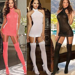 Wholesale see through g strings for sale - Group buy Women Sexy Lingerie Erotic See through Halter Sleeveless Baby doll Lace Stockings G string underwear Nightwear